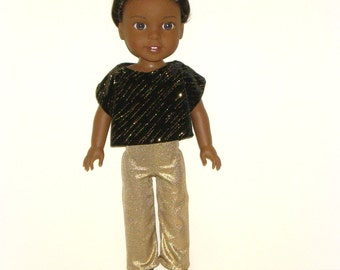 """Sparkly Dress Up 3 Piece Doll Outfit by traveller240,  Handmade to fit 14.5"""" Doll such as Wellie Wishers from American Girl, Black and Gold"""