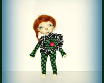 """Fits 10"""" Sprockets Doll by Connie Lowe Yo SD BJD, Strapless Polka Dot Jumpsuit, Handmade Clothes Sprocket Outfit"""