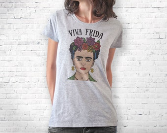 Frida Kahlo hand drawn T-shirt-Frida Kahlo tee-Frida Kahlo tank top-quote tee- gift for mom-college t-shirt-women tee-NATURA PICTA-NPTS093