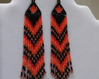 Native American Style Beaded Orange Fall Fire Earrings Shoulder Dusters Southwestern, Boho, Gypsy, Brick Stitch, Peyote, Great Gift