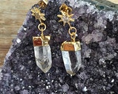 Raw Crystal Quartz Point Earrings // Sunburst Star Post Stud, Rough Mineral Rock, Dipped in Gold, Boho, Gypsy, Layer, Cubic Zirconia Diamond