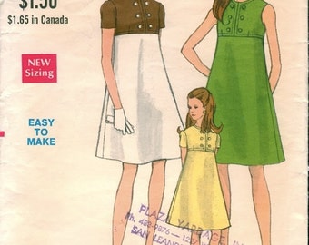 Mod Vintage 1960s Vogue 7328 A-Line High Empire Waist Dress in 3 Styles Sewing Pattern B32.5