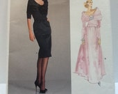 Yves Saint Laurent Vogue 1996 dress fitted bodice portrait collar slim or full skirt 12 free shipping USA
