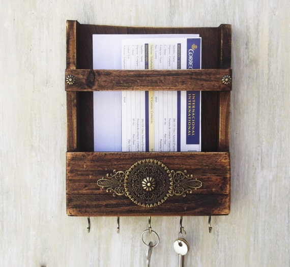 Rustic wooden mail holder and key hooks wall mount organizer - Wooden letter holder wall mount ...