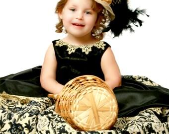 TEA HAT, Gold and Black, Derby Hat, Sinamay Hat, Hat Fascinator, Party Hat, Pageant Hat, Wedding Hat, Flower Girl Hat