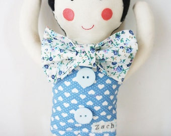 handmade boy doll plush with personalised name perfect for christening or new babies.
