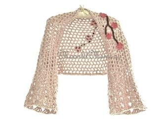 Shrug Hand Crocheted Bolero size M L XL Bamboo Sweater White Tan Blue Gray