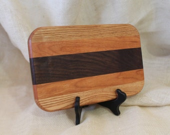 Cheese / Sushi Board Striped with Hardwoods Oak, Cherry and Walnut