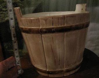 Large Bucket planter, Wooden bucket, Bucket flower pot, patio pot, Garden, Patio pot, flower planter, Ready to paint, Ceramic bisque,u-paint