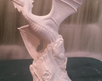 """12"""",Dragon in flight, fighting, flying dragon, Fantasy, collectible, doc holliday, Renaissance dragon,ready to paint,u-paint,Ceramic Bisque"""