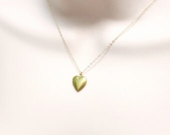 Tiny Heart Locket Necklace, Dainty Necklace, Friendship Necklace, Small Heart Charm, Long Necklace, Keepsake Jewelry, Gold Fill, Women Gift