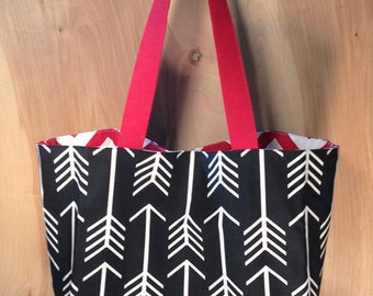Black and White Arrows Beach Tote- Premier Prints Cotton Tote bag- Red and White Chevron- by beckyzimmdesign