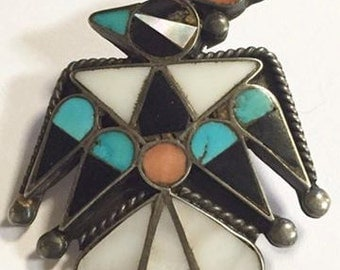 Vintage Zuni Sterling Silver Multi Stone Inlay Thunderbird Brooch Signed