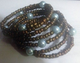 Bronze and Blue Memory Wire  Bracelet