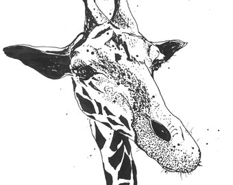 Giraffe - Ink Sketch, Ink Drawing, Pen and Ink, Black and White, Fine Art Print, Giclee, Original Art