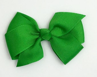 Boutique Hair Bows- Emerald Green- 3 inch Hair Bow, Boutique Bow, Babies Toddler Girls Women