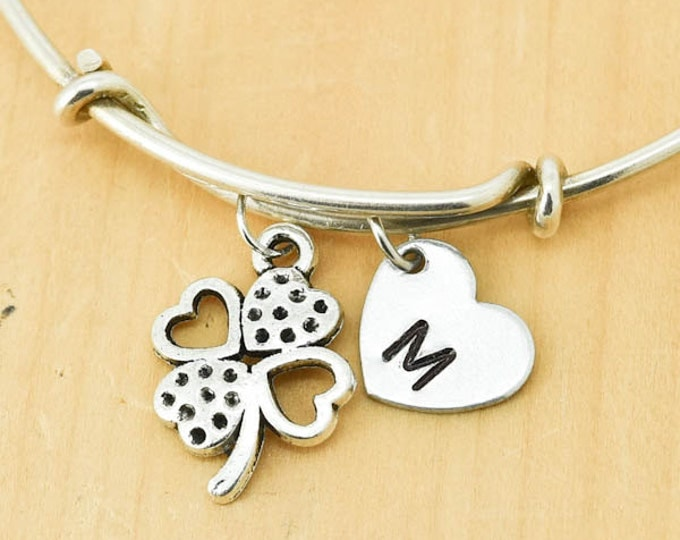 Clover Bangle, Sterling Silver Bangle, Clover Bracelet, Bridesmaid Gift, Personalized Bracelet, Charm Bangle, Monogram, Initial Bracelet