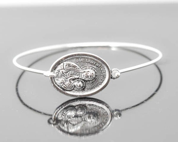 The Lady of Czestochowa Bracelet Bangle Jewelry, Catholic Jewelry, Sterling Silver Bangle Bracelet, Medal Bracelet bangle