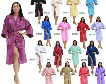 Dress DBD01-17 Thai Silk Bath Robes/Dressing Gown Peignoir Womens Housecoat Pajamas Kimono