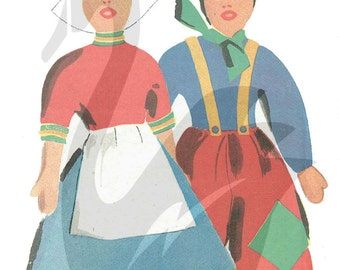 Reproduction Vintage Dutch Girl and Boy Dolls Sewing Pattern - PDF