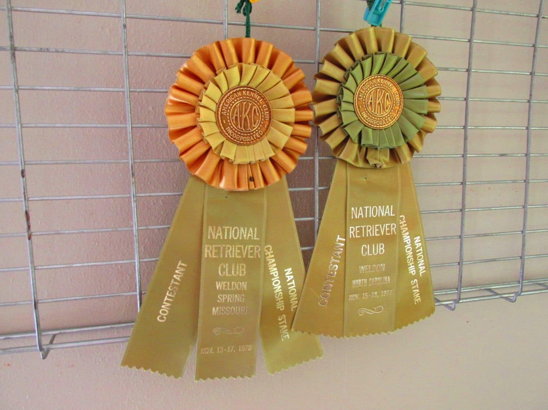 Vintage Akc Dog Show Ribbons American Kennel Club