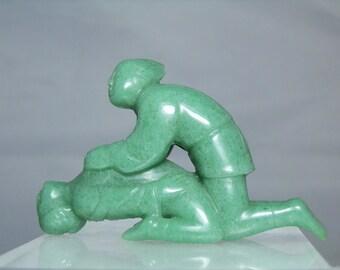 "Vintage Asian Green Serpentine Erotica Carving 60.53 grams 3"" long (76.12 mm) Carved Figurine DanPickedMinerals"