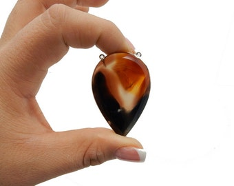 Brown and White Teardrop Agate Slice Double Bail Pendant with Silver Electroplated Edge (S-647)