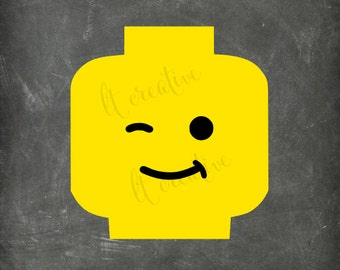 Lego Winky Face Svg, Lego Svg, Lego Head Svg, Lego Face Svg, Svg Files, Minifig, Cricut Cut Files, Silhouette Files, Vinyl Files