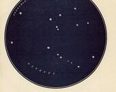 Vintage 1920 Edwardian PEGASUS FLYING HORSE Map 9 Stars astronomy print star chart zodiac constellations Celestial Maps