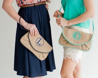 Monogrammed BURLAP Clutch - Bridesmaids Gift - Small Purse - Tote