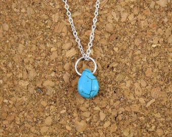 Small Turquoise Howlite Drop Necklace