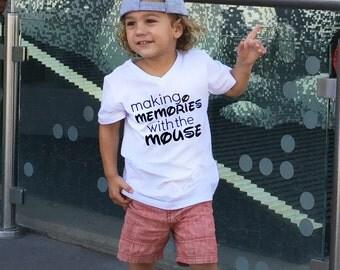 "Disney Shirts  ""Making Memories With The Mouse"" Mickey  Disneyworld Disneyland World Land Kids Toddler Teen Short Sleeve Shirt"