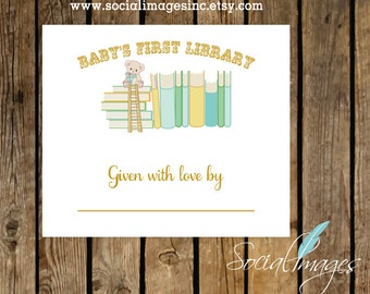 BABY BOOKPLATE Digital/Printable File/Baby's First Library/Book Labels/Bring A Book Baby Shower