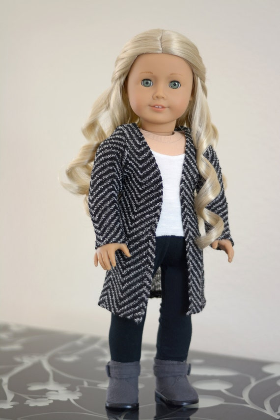 Doll Clothes: Long Chevron Open Cardigan for an American Girl Doll or Other 18 Inch Doll