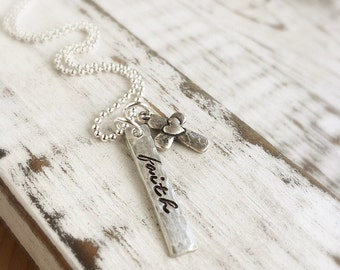 Faith Necklace . cross necklace . personalized . initial necklace . personalized jewelry . faith necklace . christmas gift . gift for her