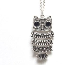 Owl Necklace, Owl Jewelry, Barn Owl Necklace, Moveable Owl Necklace, Bird Necklace, Nature Necklace, Autumn Jewelry, Canadian Jewellery