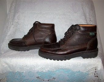Vintage Mens Brown Pebbled Leather Ankle Boots by Eastland Size 8 Only 25 USD