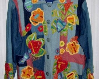 Vintage 1970s Ladies Patchwork Jacket Medium Homemade OOAK Only 20 USD