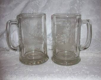 Vintage Etched Glass Mugs Steins Columbus ship The Pinta & Pirates Vessel The Brig Both for Only 8 USD