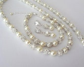Pearl jewelry set~Swarovski pearl and crystal set~ 3 piece set,Necklace,Bracelet and Earrings set ~ BACKDROP ~ Wedding jewelry set, FROSTED