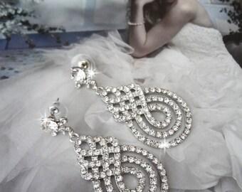 Crystal rhinestone statement earrings ~ Swirl design ~ Infinity ~ Bridal jewelry ~ Brides earrings ~ Long crystal earrings ~ Pageant ~ Prom