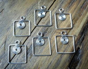 Square silver charms with a spiral centre, 6 silver wire dangles, handcrafted jewellery findings in 20ga silver plated wire.