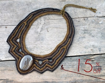 SALE // Unique necklaces for women, Boho Bib necklace, Statement jewelry, Anthropologie necklace, Natural large necklace, Botswana Agate