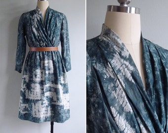 Vintage 80's Green Tie Dye V-Neck Gathered Dress XS or S