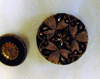 Black & Gold Vintage Glass Buttons
