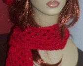 Red Crochet Beret and Scarf Set