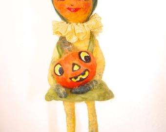 Pumpkin veggie girl Spun cotton anthropomorphic Halloween ornament a OOAK vintage craft by jeje Mae
