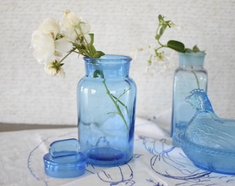 Vintage Blue Glass Apothecary Pharmacy Spice Bottle