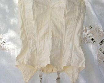 Bra S' lette Size 34 ~ Vintage Dandy bra by Lady Marlene ~ 1950's / 1960's era ~ Hook & Eye Fasteners ~ Cream White ~ corset with garters