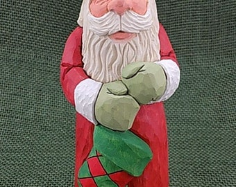 Hand Carved Wood Santa